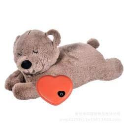 E-More giocattolo di peluche per animali domestici con battito cardiaco Cuccioli Ansia da separazione per Cani Giocattolo per Cani Morbido Peluche Cucciolo Giocattolo di Aiuto comportamentale, orso