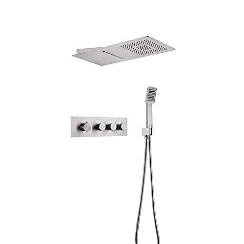 ZCYXQR Kit de Cabezal de Ducha de Mano Cabezal de Ducha de Lluvia con Sensor de Agua Empotrado Temperatura del Agua Ajustable Juego de Ducha de baño Bathroo (Ducha de casa)