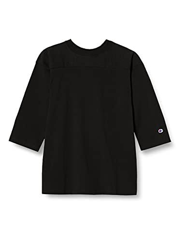 [チャンピオン] 七分袖Tシャツ フットボールT ヨーク切り替え ヘビーウェイト クルーネック T1011 ドライタッチ USA 白T 丸胴仕様 ティーテンイレブン 3/4スリーブフットボールTシャツ C5-P405 メンズ ブラック M