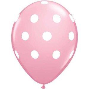 Pink Polka Dot Balloons - 11 inch Qualatex Latex Balloons - 12 Count