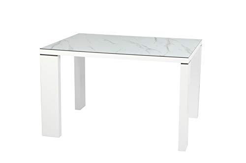 HABITMOBEL Mesa Comedor lacada Blanca, Cristal ceramico, 120 x 90 cms