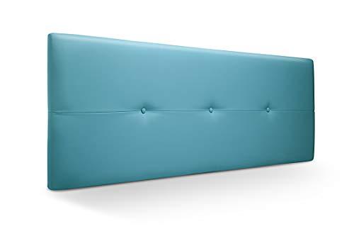 Cabecero de Madera Jazmin, tapizado Acolchado en Polipiel Color Turquesa. Cabeceros Madera para Dormitorio | Cama Matrimonio | Cama Juvenil | Camas de 135 cm, 140 cm, 150 cm, 160 cm