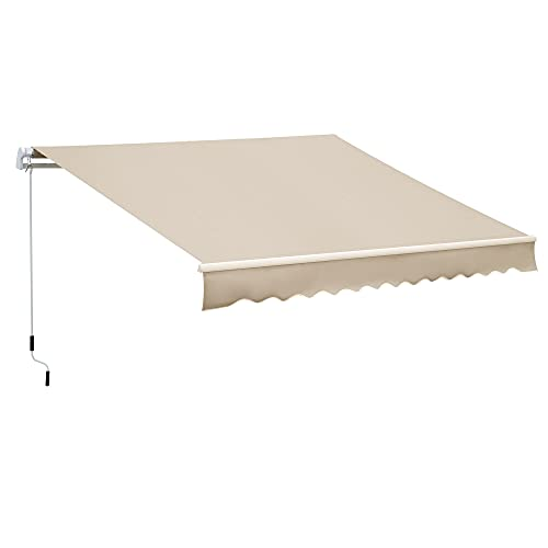 Outsunny 12' x 8' Outdoor Patio Manual Retractable Exterior Window Awning Sunshade, Shelter with Durable PU Design, Cream White