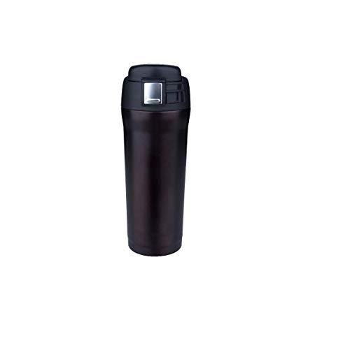 Taza de Viaje a Prueba de Fugas - 500 ml - Botella de Agua con Aislamiento al vacío Frascos para Bebidas frías y Calientes Botella de Agua de Acero Inoxidable para niños, Libre Taza de café | Negro
