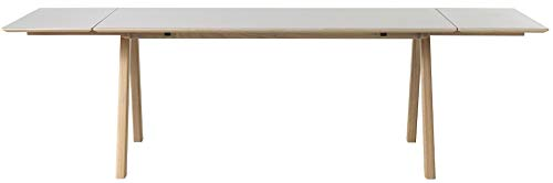 24Designs Harstad Verlengbare Eettafel - 180/270x90x75 - Grijs HPL - Eiken White Wash