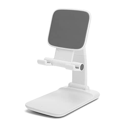 BOTEGRA Soporte para Teléfono Ajustable, Soporte para Teléfono Plegable Multifunción para Oficina para Reuniones En Línea(Plástico Blanco)