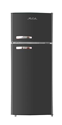 RCA RFR786-BLACK 2 Door Apartment Size Refrigerator with Freezer, 7.5 cu. ft, Retro Black