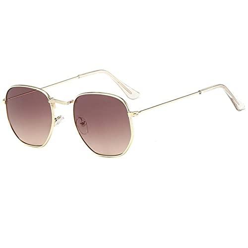 KAZOKUYiZi Gafas de sol Gafas de sol sin montura metálicas Mujeres Diseño Polígono Recorte de sol Gafas de sol Vintage Classic Gradient Shades UV400 Gold Eyewear (Color : C4)