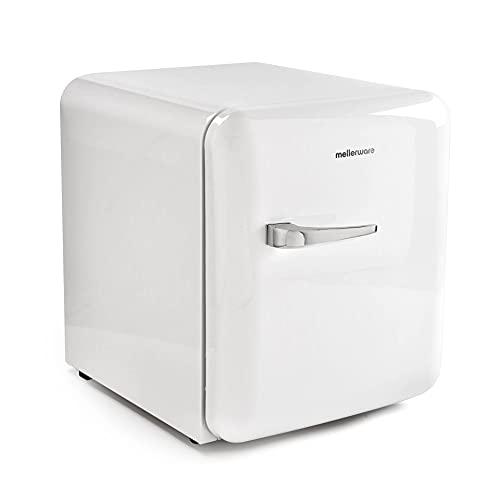 Mellerware Mini refrigerador eléctrico Freezy! Mini nevera 48 L eficiencia energética A+ Frigorífico pequeño 50 cm alto Apertura derecha Compartimento latas y botellas (Blanco)