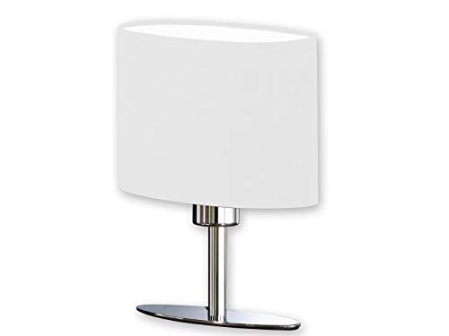Designklassiker: Kleine LED Tischleuchte in Silber mit ovalem Lampenschirm Stoff Weiß