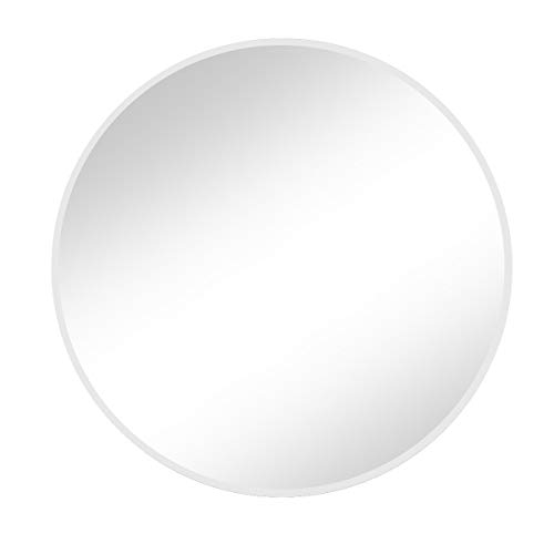 "Vlush Large Round Metal Frame Mirror, 27.6"" Wall-Mounted Mirror for Living Room, -"