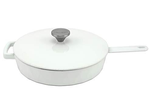 HearthStone Cookware - Padella Diamond in ghisa smaltata con coperchio, bianco, 26 cm, per tutte le superfici, inclusa induzione, forno