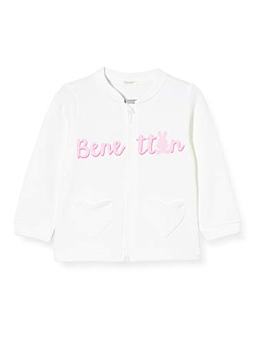 United Colors of Benetton Baby-Mädchen Felpa Zip Strickjacke, Weiß (Bianco 101), 68