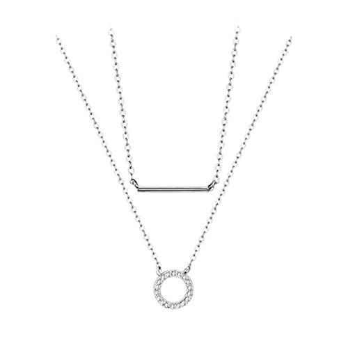 HCMA Collar de círculo de circonita de Plata 925 para Mujer Collar de Cadena de clavícula de Doble Capa El Regalo Ideal para Mujeres