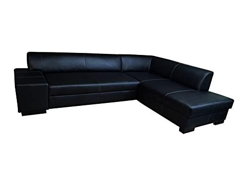 Divano ad angolo in vera pelle nera London II, 275 x 220 cm, con funzione letto e cassetto, in vera pelle, con cuciture decorative grigio scuro