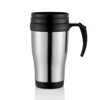 KHATUMBDI Stainless Steel Vacuum Insulated Travel Tea and Coffee Mug -Insulated Cup for Hot & Cold Drinks, Travel Thermos with Silver and Black Color 400 ml