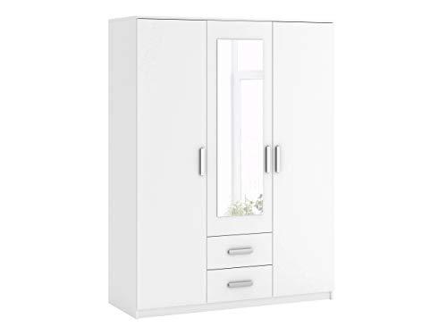 Mirjan24 Kleiderschrank Saravena, Drehtürenschrank mit Spiegel und Schubladen, Schlafzimmerschrank, Dielenschrank, Schrank, Garderobenschrank, Flurschrank (Weiß/Weiß + Spiegel, Modell: 3D2S)