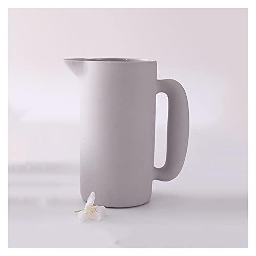 luckxuan Jarra de Agua Pitcher de cerámica Simple Hacerse escarchado Alta Temperatura Resistente al hervidor Ancho Tetera doméstica Tetera de Gran Capacidad (54.1 oz) Teteras de té Helado