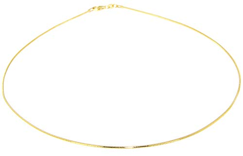 Hobra-Gold Halsreif Silber 925 vergoldet Tonda 1 mm Silberreif Gold Collier 42/45 / 50 cm (42)