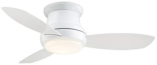 """Minka-Aire F518L-WH, Concept II LED White Flush Mount 44"""" Ceiling Fan with Light & Remote Control"""