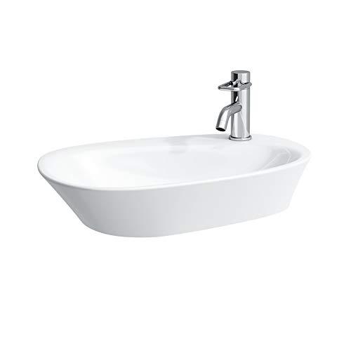 Laufen Palomba Waschtisch-Schale, 1 Hahnloch, mit Überlauf, mit Hahnlochbank, 600x400, Farbe: Weiß mit LCC