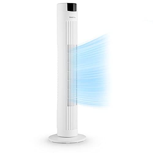 Klarstein Skyscraper 2G - Ventilador de Columna, Potencia 40W, Flujo de Aire 820 m³ h, Oscilación, Mando a Distancia, Programable, 3 velocidades, Panel táctil, Silencioso, Filtro Integrado, Blanco