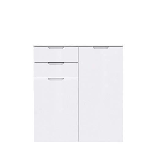 FORTE Moderne Kommode mit Hochglanzfront, Holz, Weiß Hochglanz, 109.9 x 34.1 x 116.9 cm