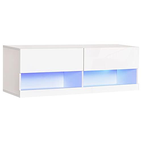 HOMCOM TV Board Fernsehtisch Hängeboard mit bunter LED-Beleuchtung 16 Blinkmodi Wandmontierter TV Schrank Kommode mit Schubladen und Offene Regale MDF in Hochglanz Weiß 120 x 35 x 40,5 cm