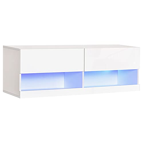 homcom Mobile TV Sospeso in Legno, Mobile Porta TV Moderno con Luci LED di 20 Colori, per TV Max. 42', Bianco Lucido, 120x35x40.5cm