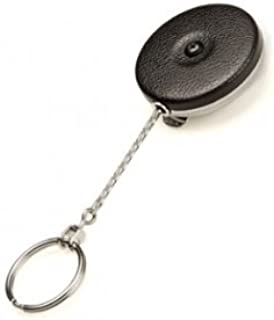 KEY-BAK Original Retractable Key Holder with a Black Front, Steel Belt Clip, Split Ring and Made in the USA
