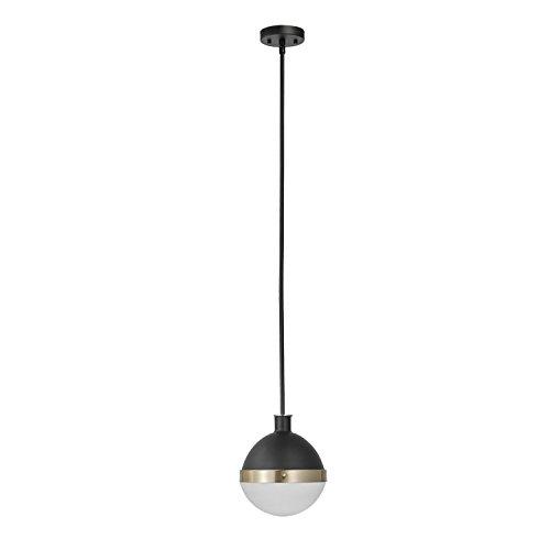 Globe Electric 65773 Bari 1-Light Pendant, Black, Matte Finish, Brass Accents, Half Opal Glass Shade, 0