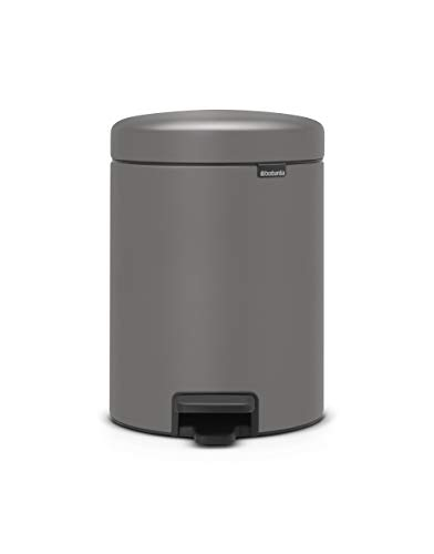 Brabantia - 126284 - Poubelle à pédale newIcon, 5L, Mineral Concrete Grey