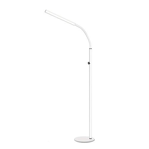 LOVELY LAMP Lampe De Plancher De Protection Des Yeux LED, Tuyau Flexible Salle D'étude Salon Acrylique Couvercle, Interrupteur Tactile (Color : White)