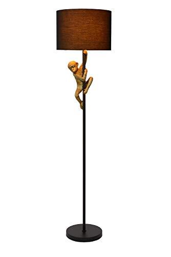 Lucide Lámpara de pie extravagana Chimp, diámetro de 35 cm, 1 bombilla E27, color negro