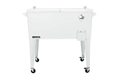 Permasteel PS-203-WHT-AM 80 Quart Portable Rolling Patio Cooler, White