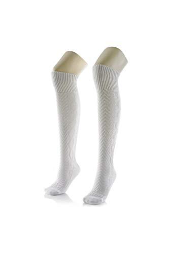 Edelnice Trachtenmode hochwertige Kniebundstrümpfe weiß extra lang Gr. 44/45