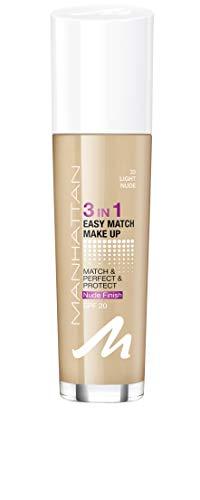 Manhattan 3in1 Easy Match Make Up, ölfreie Foundation für einen makellosen Teint, Farbe 33 light nude, 30ml
