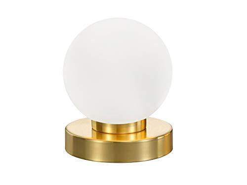 LED Tischleuchte mit weißem Kugel Glasschirm & Fuß in Messing matt – 3 stufig dimmbar über Berührung – Neue Touch Generation geeignet für LED