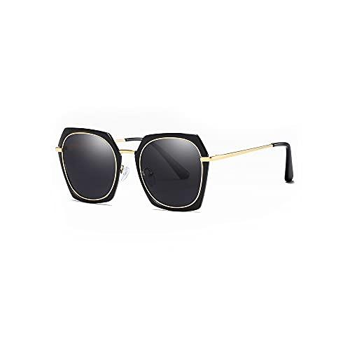 Dabeigouztyjn Gafas de Sol, Gafas de Sol TAC Ladies Polarized Sun Visor UV Protección Gafas de Sol Gafas de Metal Gafas de Sol Marco (Color : Gold)