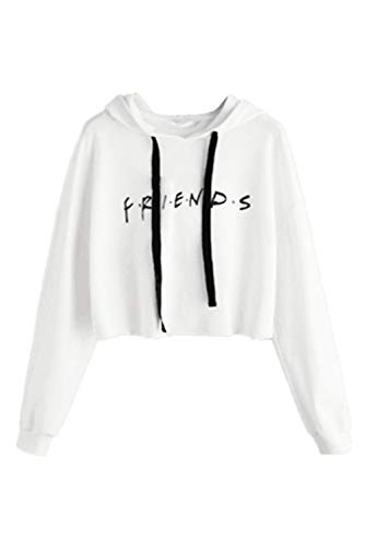 Idepet Women's Casual Letters Print Crop Top Loose Pullover Friends Shirt Teen Girl TV Show Hoodie Sweatshirt(Whtie,Large) White