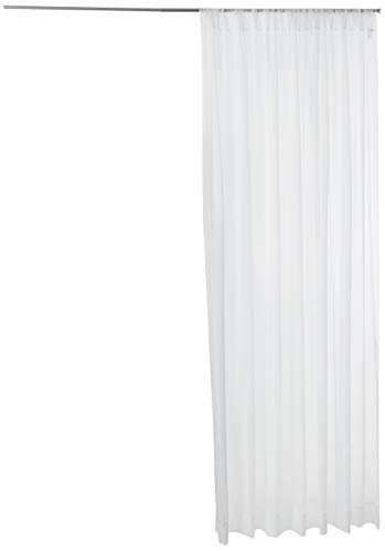 """LA Linen Sheer Voile Drape Panel (1 Pack), 120 by 118"""", White"""