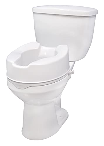 """Drive Medical Raised Toilet Seat with Lock, Standard Seat, 6"""""""