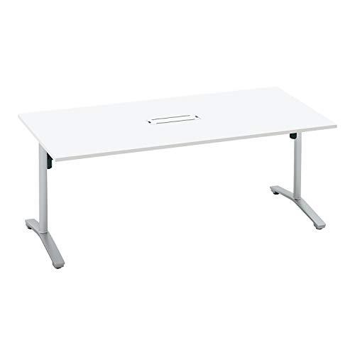 コクヨ ミーティングテーブル ビエナ 天板固定 角形 T字脚 塗装脚 配線ボックス付き 幅180×奥行90cm アジャスター仕様 ホワイト/フラットシルバー
