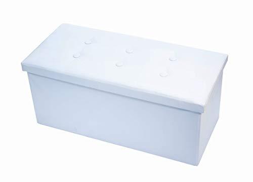 BiancheriaWeb - Puf acolchado plegable de piel sintética, modelo doble, color blanco