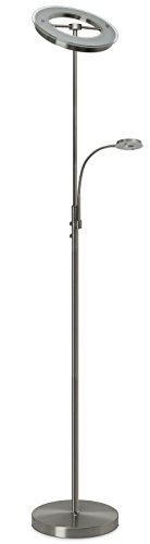 Lámpara led de pie Trango de diseño,níquel mate, incluye regulador de intensidad táctil, luz 3000K blanco cálido TG1515