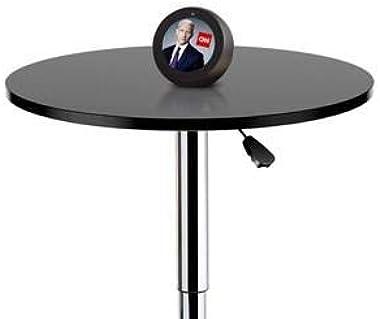 Yaheetech Round Pub Bar Table Black MDF Top with Silver Leg Base 27.4-35.8 inch Adjustable 88 lb Capacity