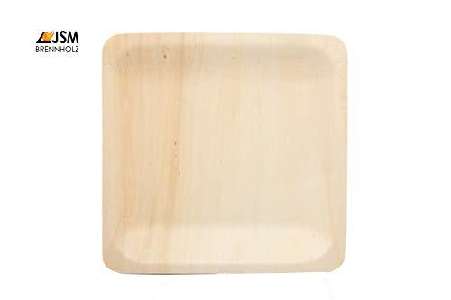 JSM Hochwertiges Einweggeschirr I 100 Teller aus Bambus - rechteckig 18 x 18 cm I umweltfreundlich, geschmacksneutral, wasserdicht und hitzebeständig