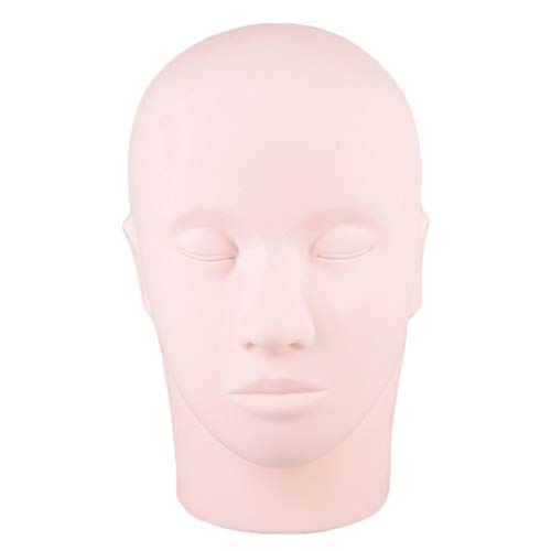 Pratique Head - caoutchouc pratique Head, Cosmétologie 3D Lèvres Sourcils faux tatouage pratique peau Visage Tête Poupée Mannequin for la formation de maquillage de peau de silicone 1 Pc