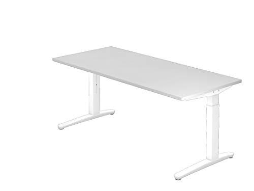 Schreibtisch DR-Büro Serie XB - Maße 180 x 80 cm - Gestell weiß - höhenverstellbar - Kabelwanne, Farbe Büromöbel:Weiss