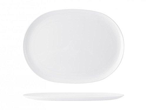 H&H Plat de Service Ovale, 40 cm, mélamine, Blanc